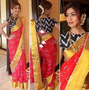 Shilpa Shetty in traditional saree