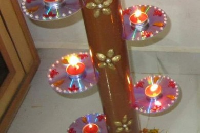 Recycle Old CD for Diwali lights