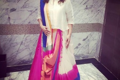 How to drape a silk saree like a dupatta