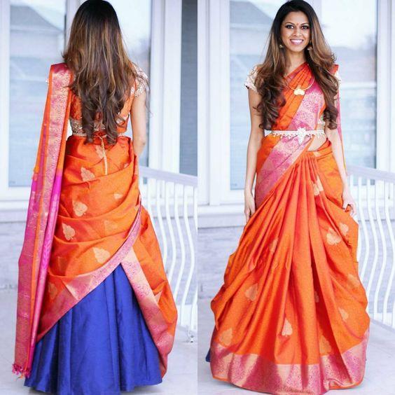 How to drape a silk saree like a dupatta