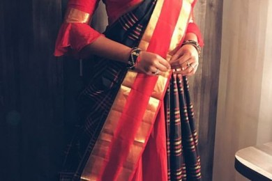 Drape Silk Sarees Like A Dupatta With Regular Lehnga's And Skirts