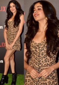 Jahnvi Kapoor in animal print dress