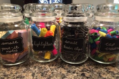 Reuse glass jar to store stationary