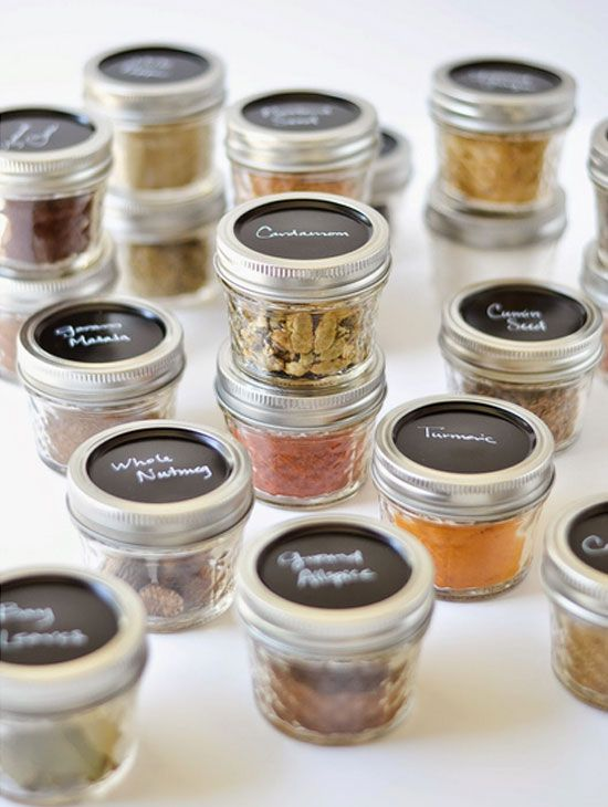 Reuse glass jars as spice box