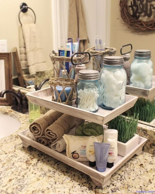 Reuse glass jars for bathing room