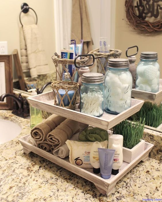 Reuse glass jars for bathing room