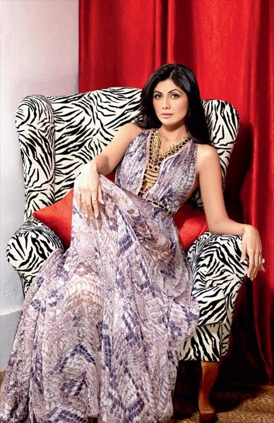 Shilpa Shetty in animal print dress