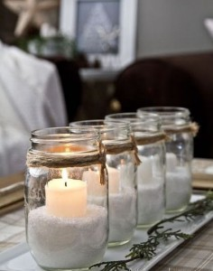 Reuse glass jars as candle stands