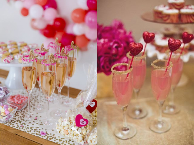 Cocktail glass decor for valentine's day party ideas