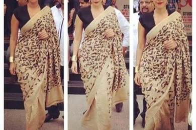 Animal print saree