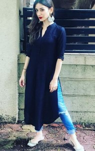 Kurta and denims for summers
