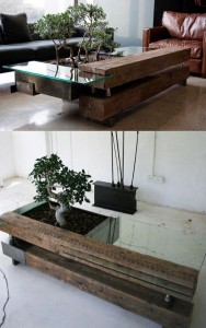 Nature inspired table with a live plant