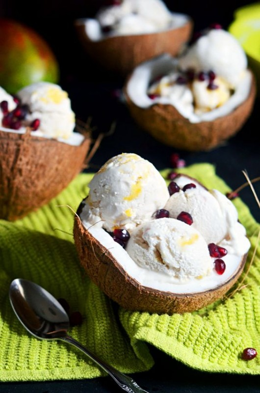 Coconut milk ice cream served in coconut shell