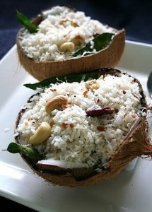 Coconut rice served in coconut shell
