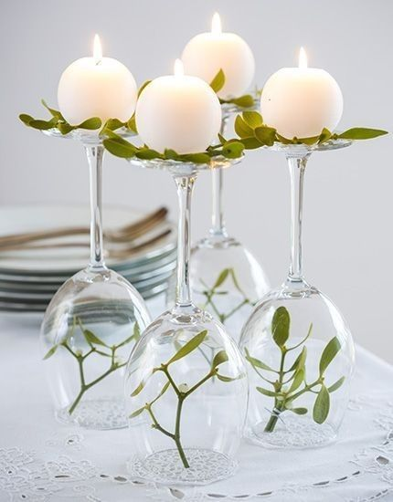 Decoration with candles and real leaf