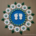 Navratri Rangoli Designs With Goddess Foot Prints