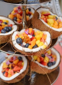 Serve cut fruits in coconut shells