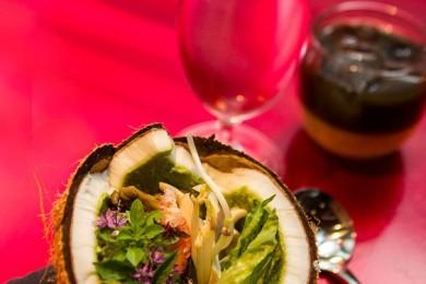 Serve salad in coconut shells
