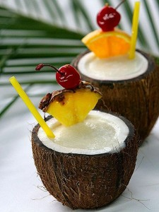 Summer cocktails served in coconut shell