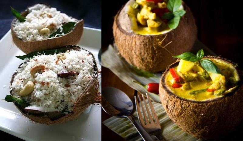 coconut curry and rice served in coconut shell
