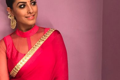 Anita Hassanandani Plain Saree Blouse Designs