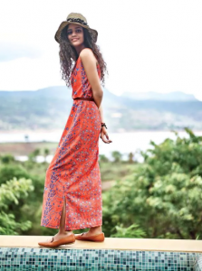 long gown with multi colour embroidery paired with Roman sandal