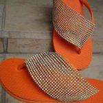 DIY embellished flip flops