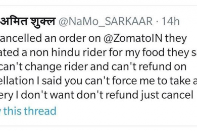 Zomato customers refuses to accept delivery from a non Hindu delivery boy