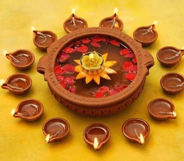 Diya arrangement for Diwali