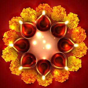 Diya arrangement for Diwali
