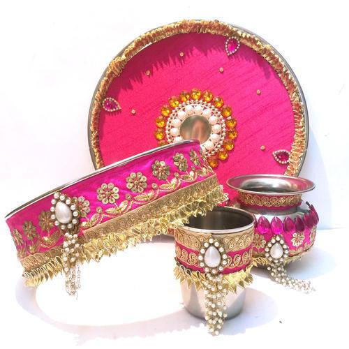Tasselled pooja thali set for karvachauth