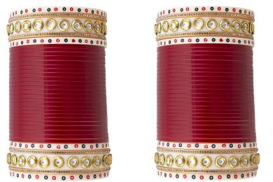 Maroon color choora for the Indian brides