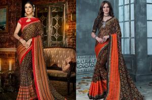Orange and black Brasso saree