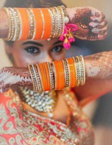 Orange color choora for the Indian brides