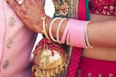 Pastel pink color choora for the Indian brides