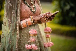 Peach color choora for the Indian brides