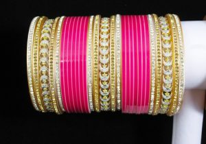 Pink color choora for the Indian brides
