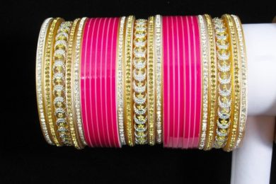 Pink color choora for the Indian brides