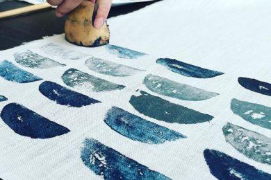 Block printing with potato