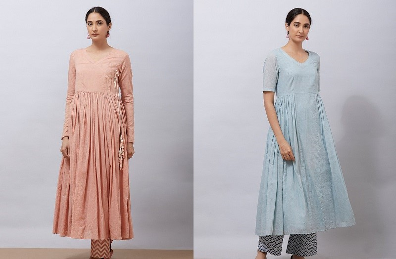 Pleated waist kurti with a slip set