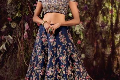 Blue bridal lehnga