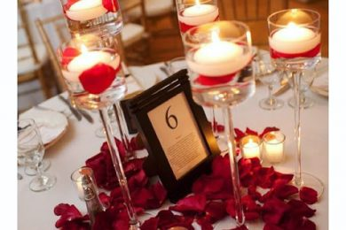 Candle set up for valentine's day decor