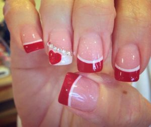 French manicure valentine's nails