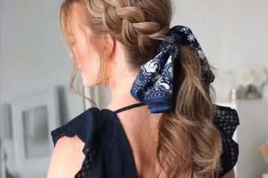 How to use scarf as a hair accessory with braids