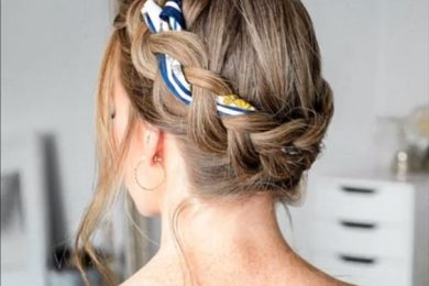 How to use scarf as a hair accessory with braids and buns