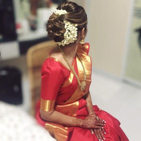 Bun hairstyle with gajra