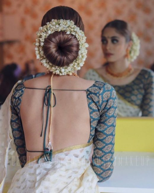 Bun hairstyle with gajra