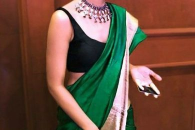 Black sleeveless blouse saree looks