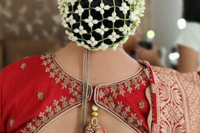 Fresh Flower Jalli Bun Cover Hairstyles For A Truly Traditional Look