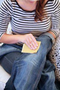 DIY distress denim jeans